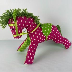 Very Cute Pink Green Soft Polka Dot Play Horse